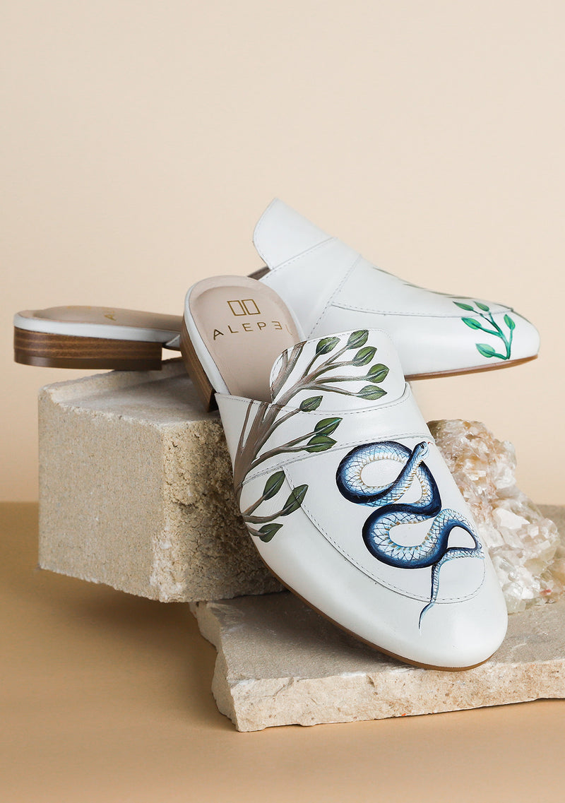 Temptation Snake White Leather Mule