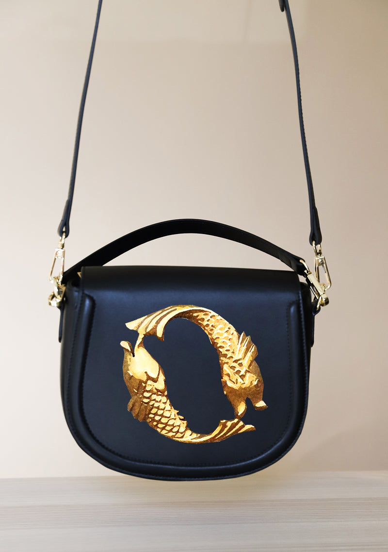 Gold Fish Zodiac Hand-painted Black Leather Bag
