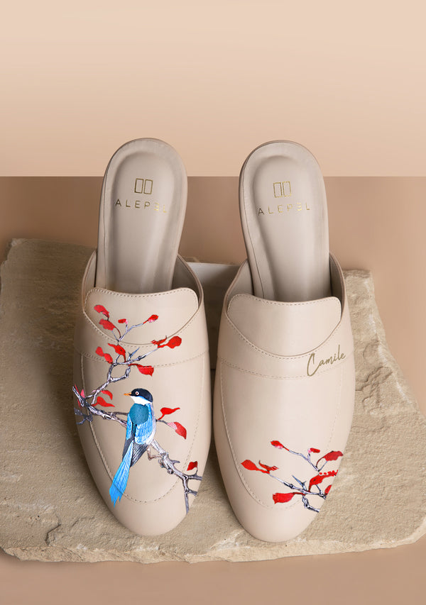 Blue bird red leaves beige mule