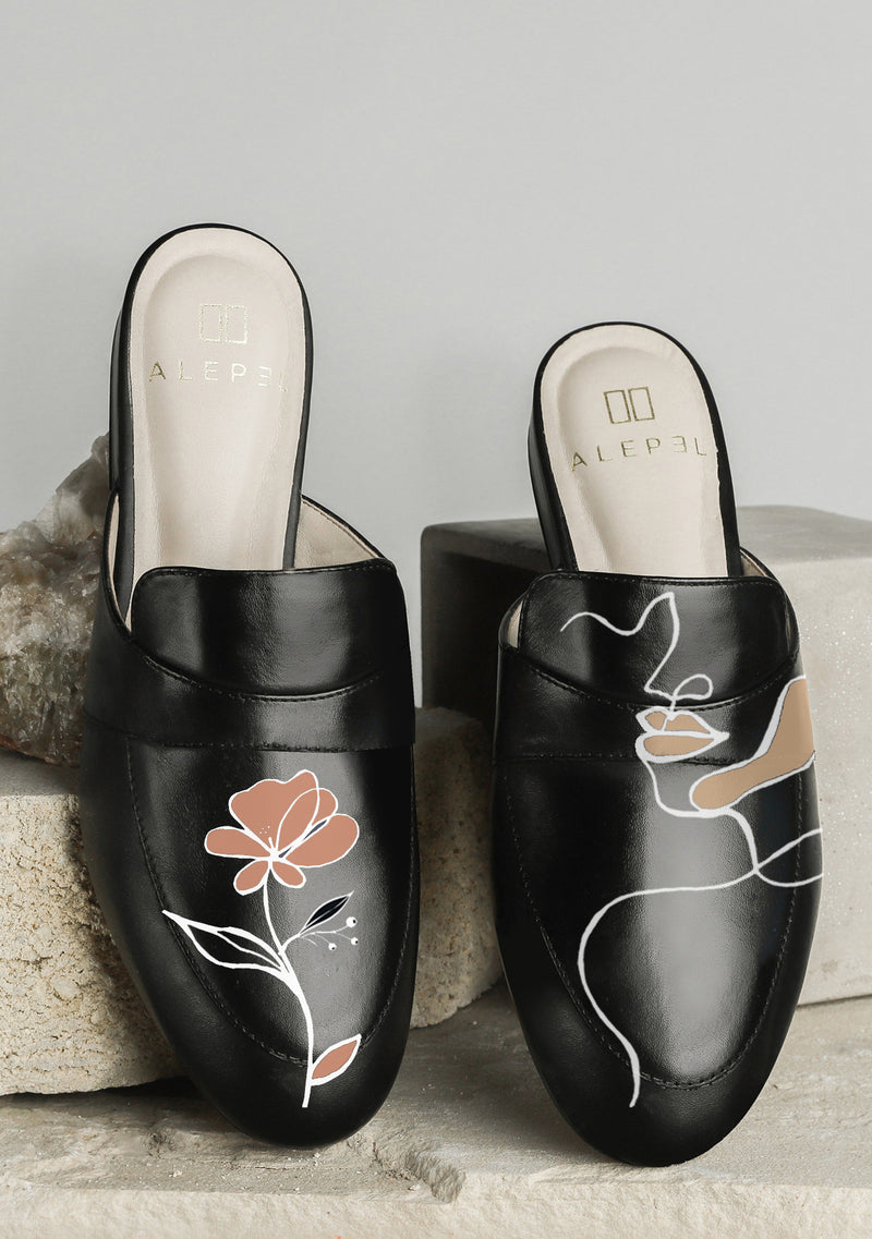 Goddess and Flower Zodiac Hand-painted Black Leather Mule