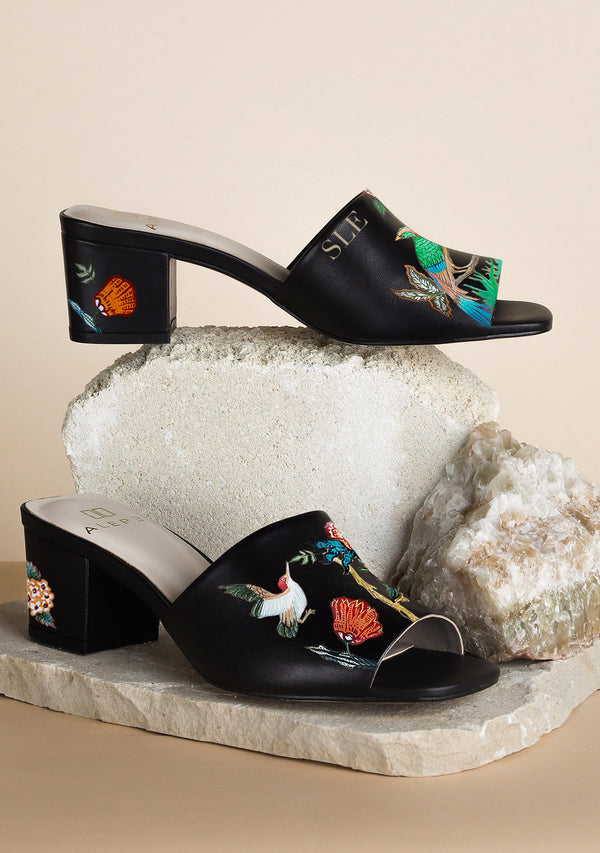 Colorful Bird Floral Hand-painted Black Leather Mule