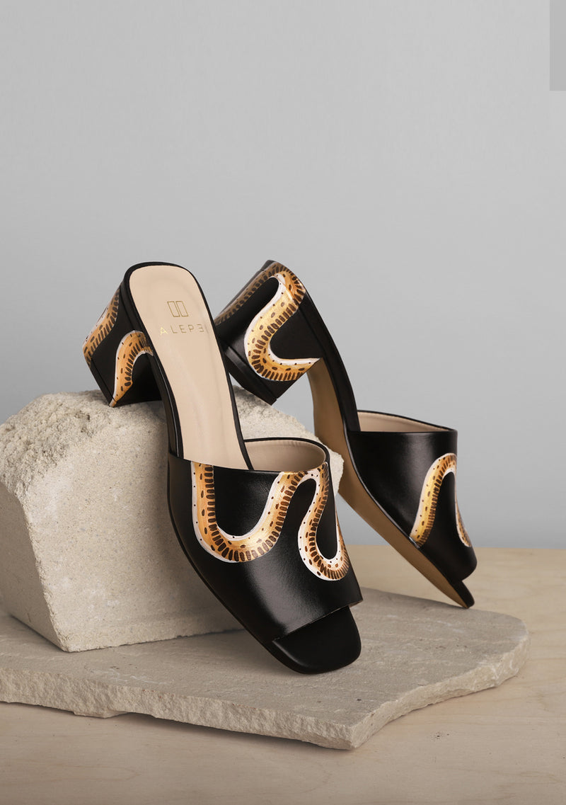 Snake and Tree Black Leather Block Heel