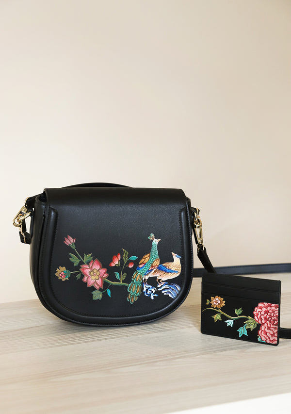 English Porcelain Black Bag + Cardholder Set