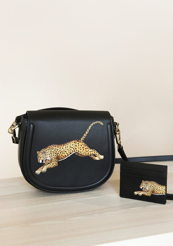 Leopard Black Bag + Cardholder Set