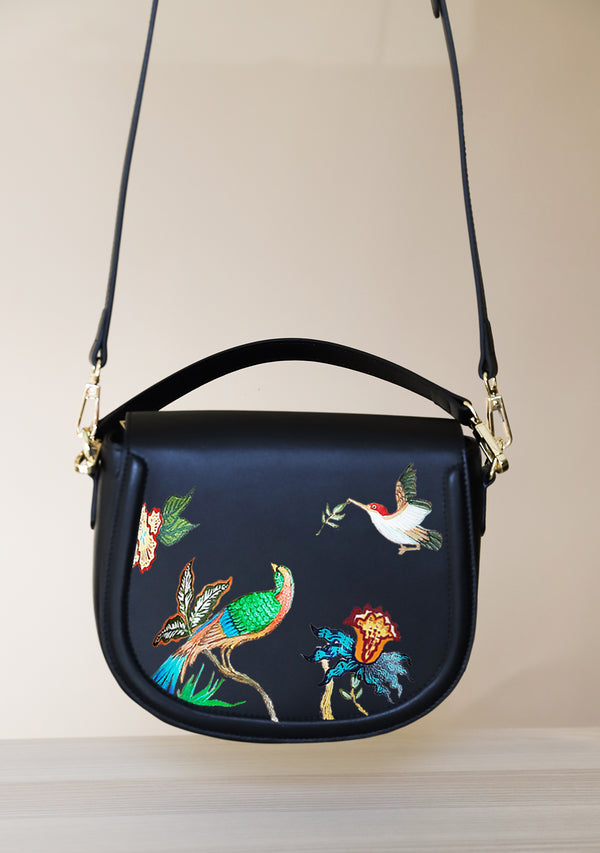 Bird Floral Black Leather Bag