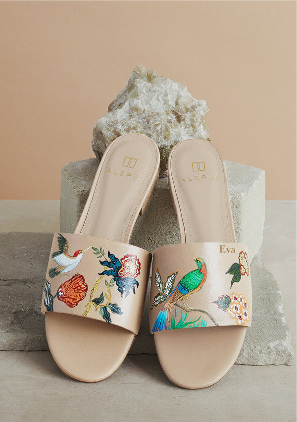 Multicolor Floral Bird Leather Nude Slide With Monogram