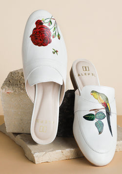 Bird and Red Rose Off White Leather Mule