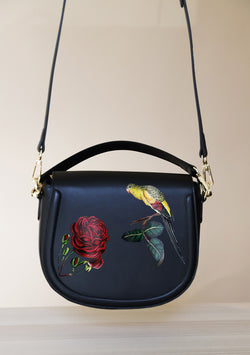 Medium Sized Bird and Rose Black Leather Bag