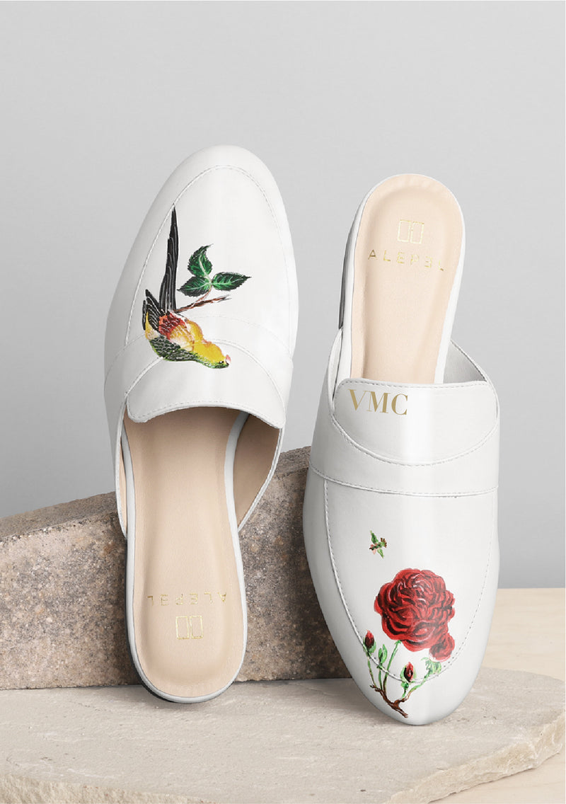 Bird and Rose White Mule