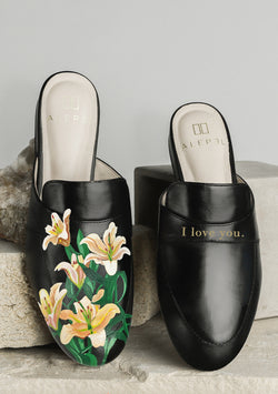 Bridal Bouquet Black Mule