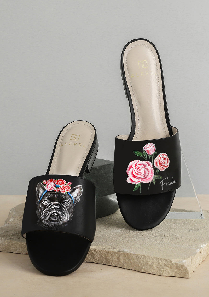 Frida Frenchie Black Slide