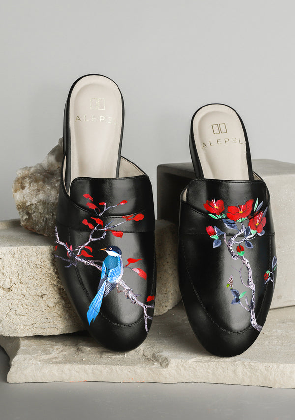Blue Bird Red Flower Hand-painted Black Leather Mule