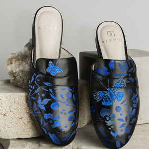 Denim Butterfly Black Mule