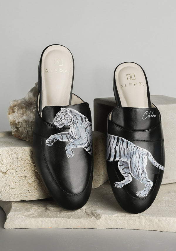 Silver Running Tiger Black Leather Mule