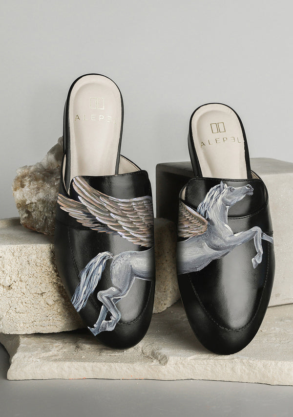 Hand Painted Metallic Pegasus Black Leather Mule