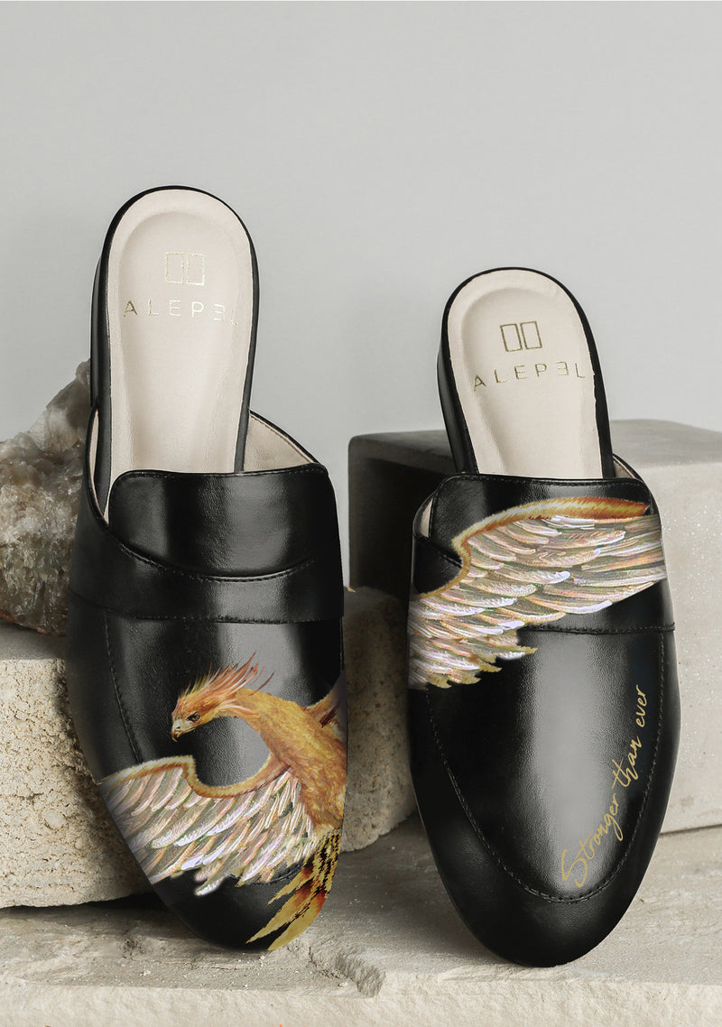 Black golden Phoenix leather mule