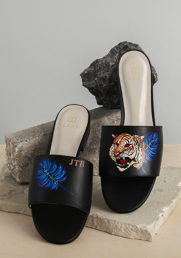 Royal Tiger Black Leather Slide With Monogram