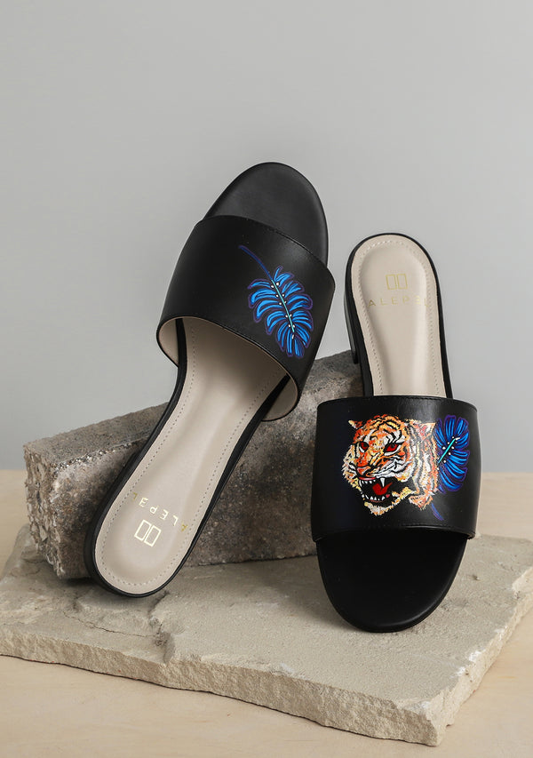 Royal Tiger Black Leather Slide
