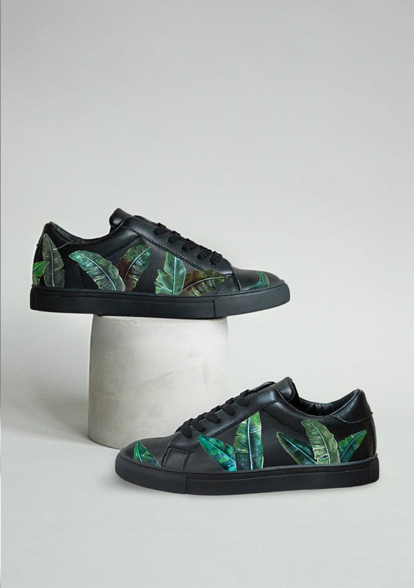 Green Palms Black Sneaker