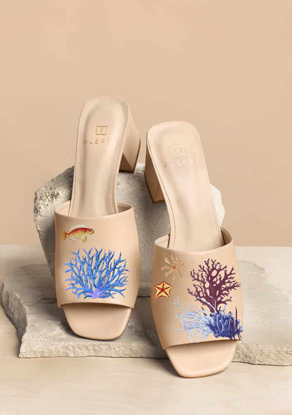 Sea Life Colorful Zodiac Hand-painted Beige Leather Block Heel