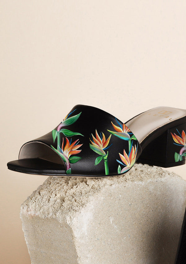 Orange Green Flower Black Leather Block Heel