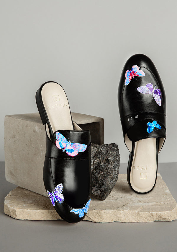 Hand Pained Blue Butterflies Black Leather Mule