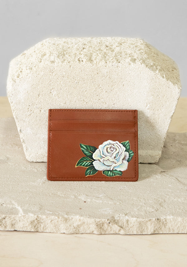 White Rose Brown Cardholder