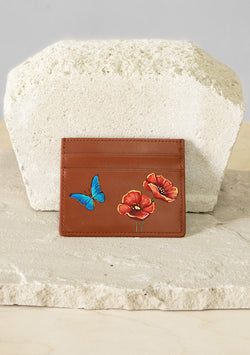 Poppy Flowers Brown Cardholder
