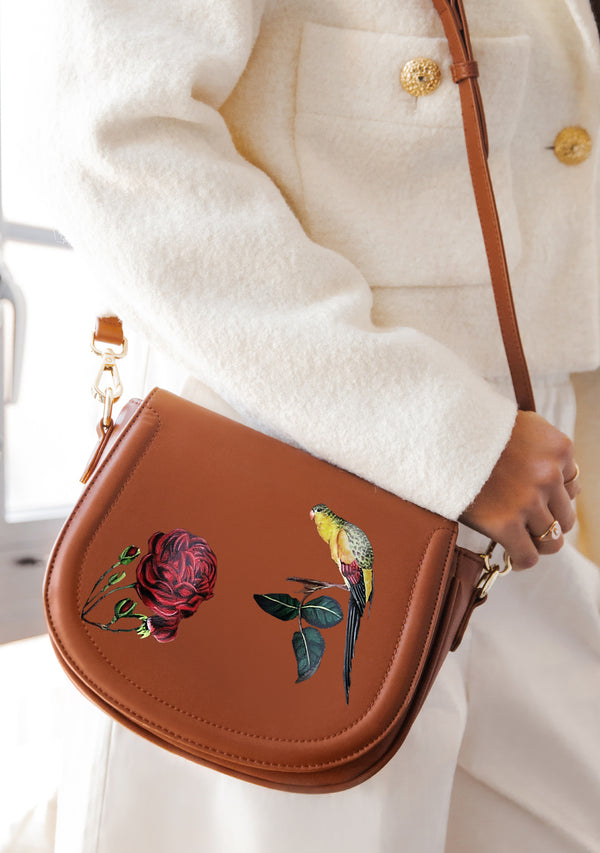 Bird and Rose Brown Bag