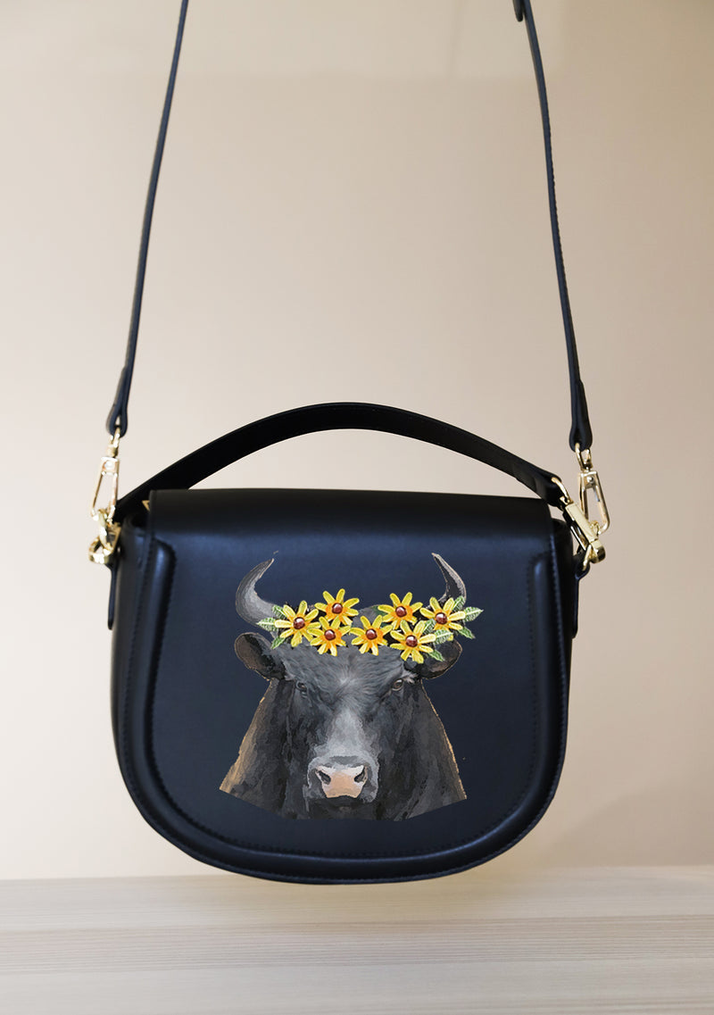 Bull Floral Zodiac Hand-painted Black Leather Bag