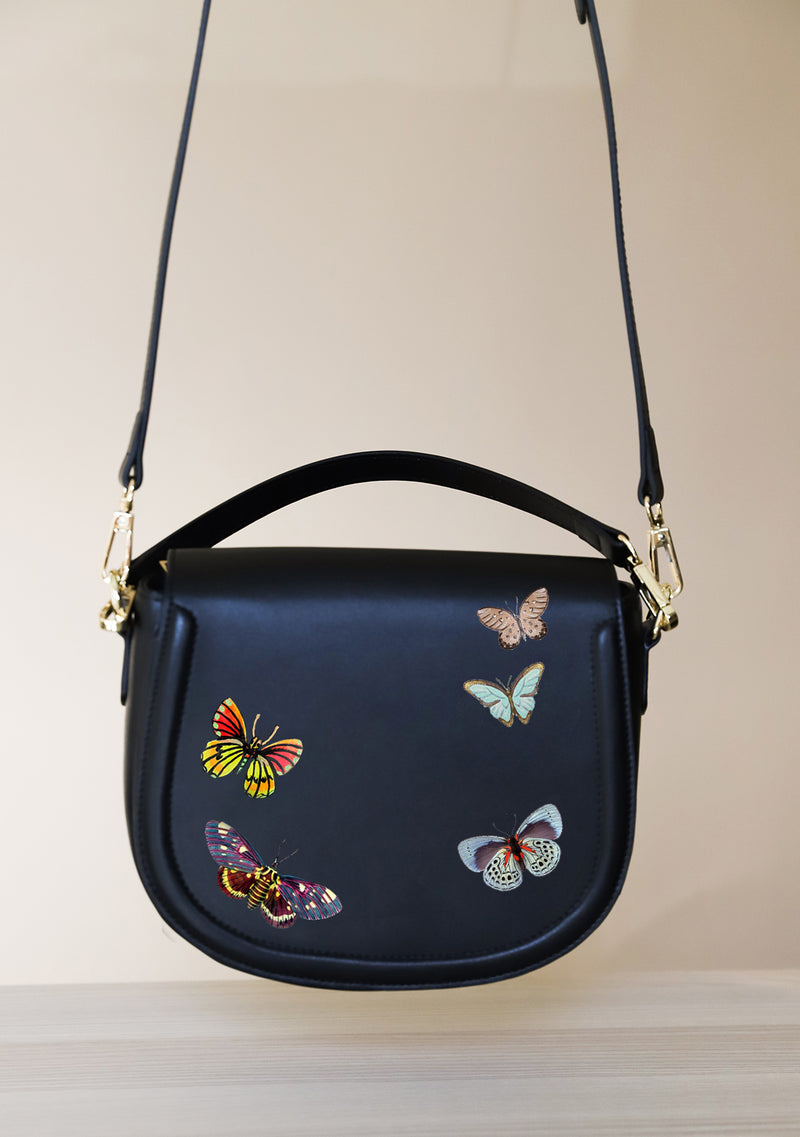 Multicolor Butterfly Black Leather Bag