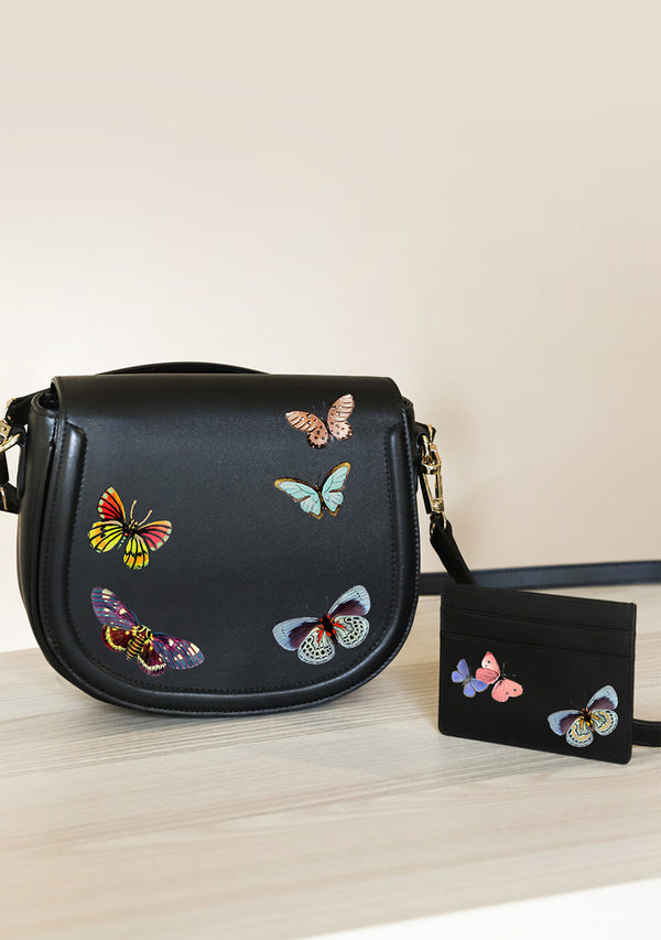 Butterflies Black Bag + Cardholder Set