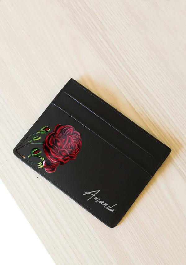 Rose Black Leather Cardholder With Monogram