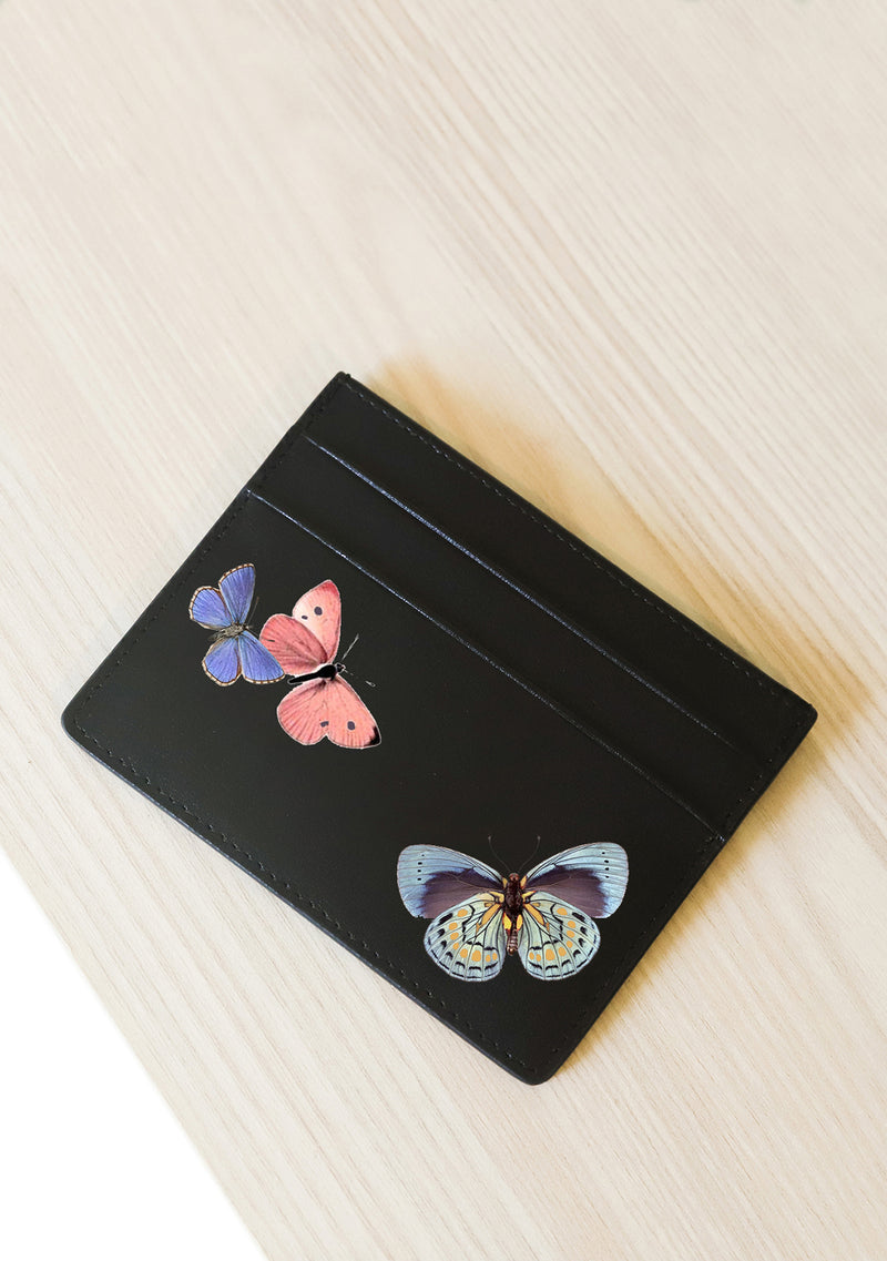 Multicolor Butterflies Leather Cardholder