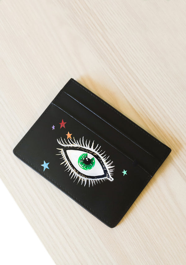 Eyes and Stars Black Leather Cardholder