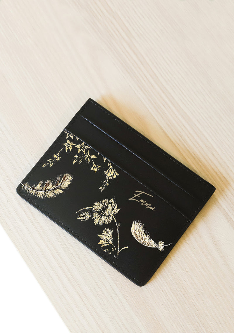 Gold Feathers Black Leather Cardholder with Monogram