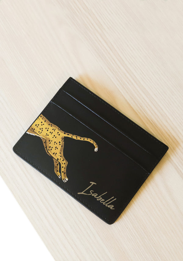 Black Leather Leopard Cardholder With Monogram