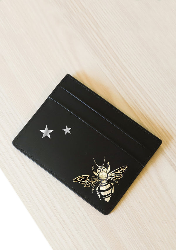 Queen Bees and Stars Black Leather Cardholder
