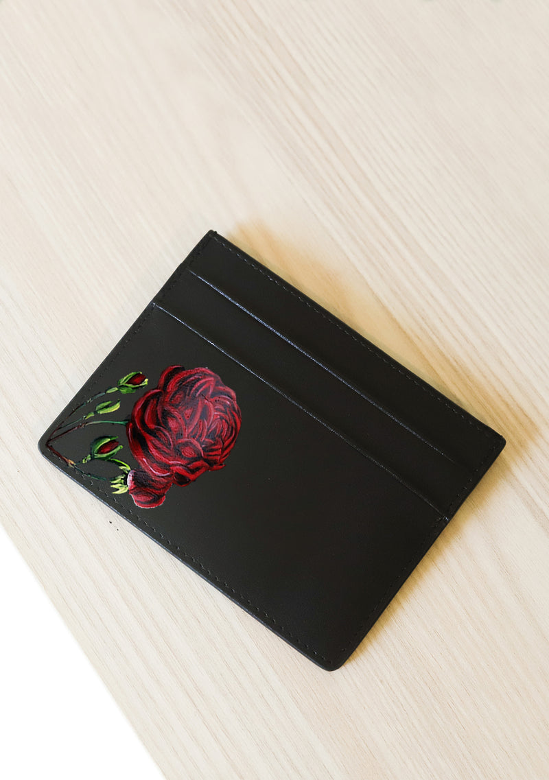 Rose Black Leather Cardholder