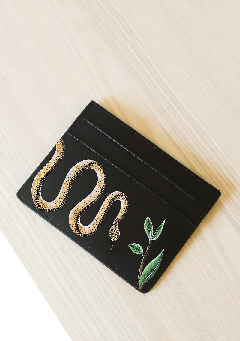 Black Leather Snake Patterned Cardholder