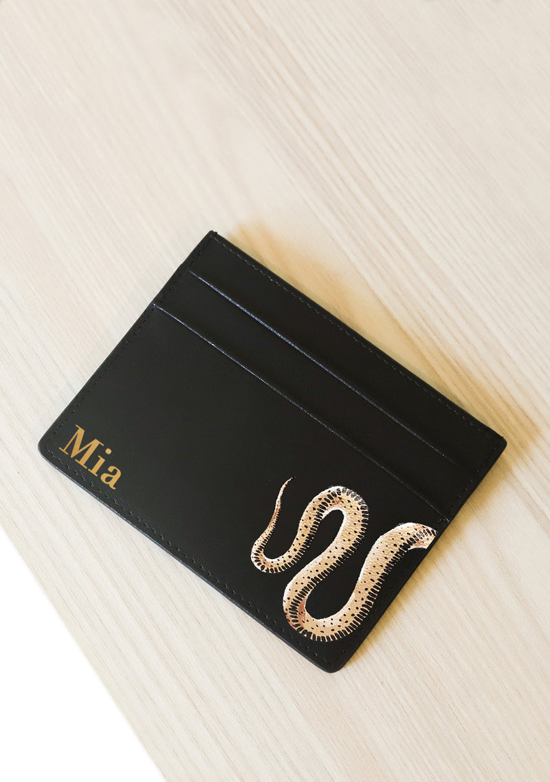 Black Leather Snake Patterned Cardholder with Monogram