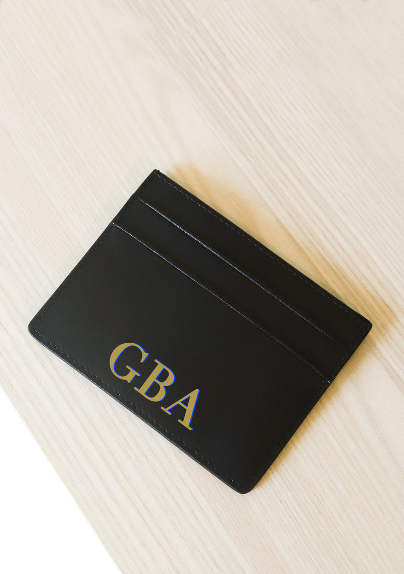 Simply You Monogram Black Leather Cardholder