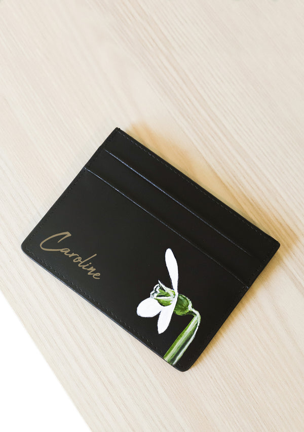 black leather hand painted snowdrop flower
