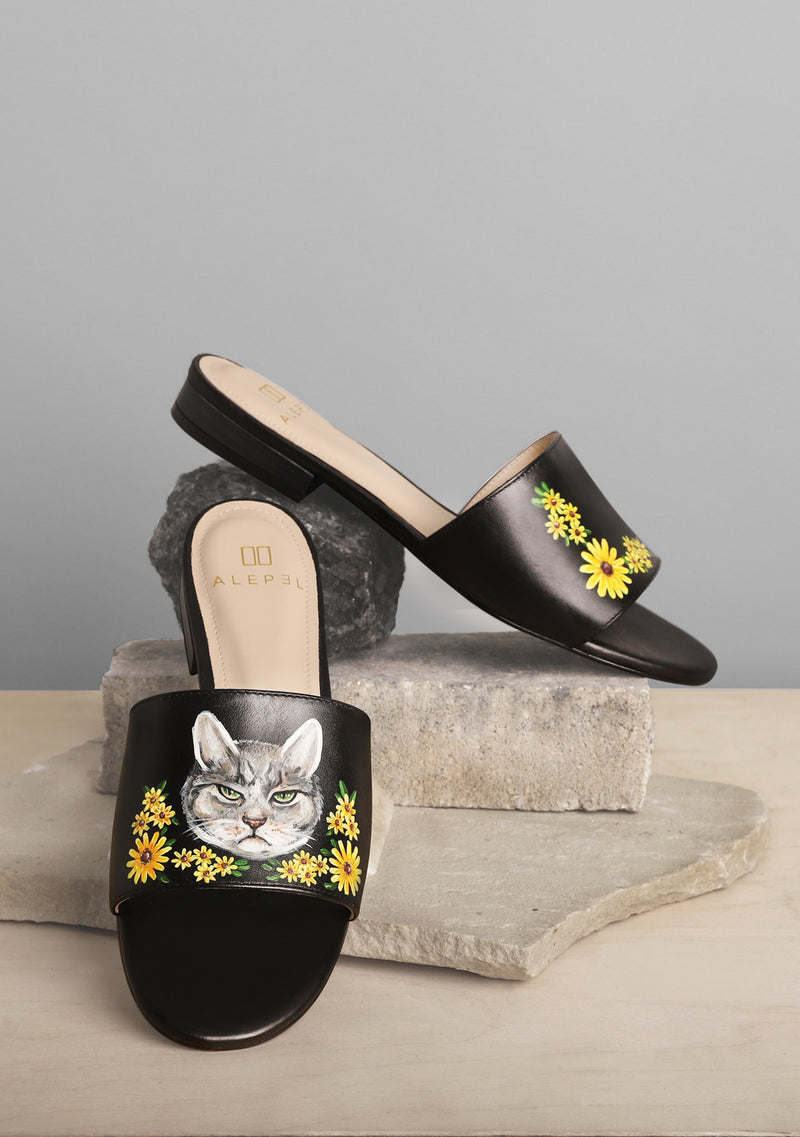 Cat and Flower Black Leather Slide
