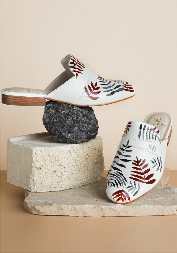 Hand Painted Delicate Fern White Leather Mule