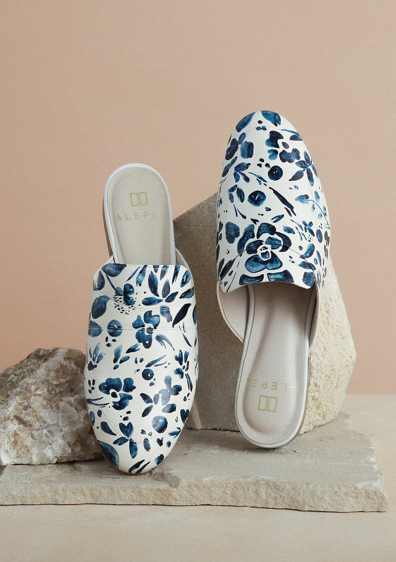 Hand Painted Denim Floral White Leather Mule