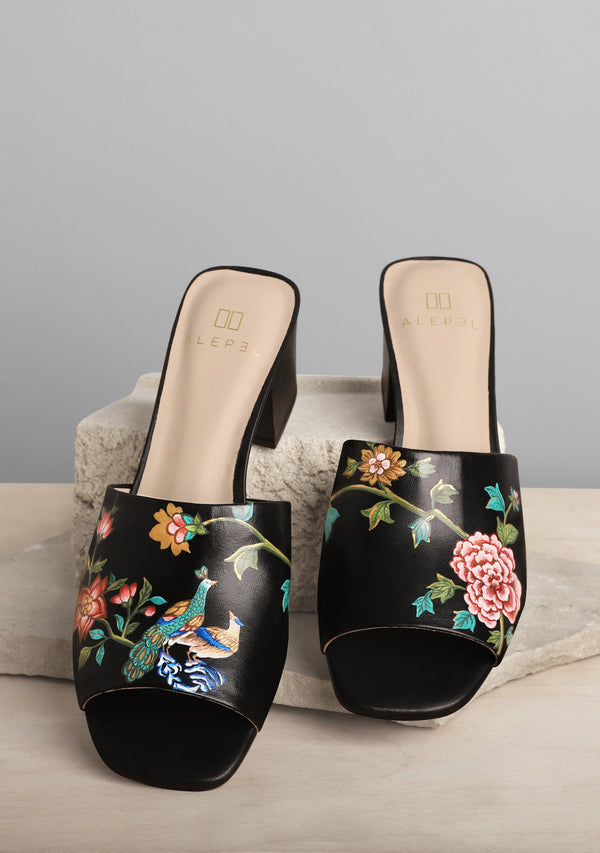 Bird and Flower Multicolor Black Leather Block Heel