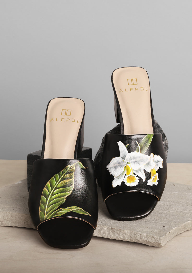 White Flower and Green Leaf Black Leather Block Heel