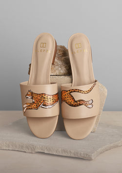 Leopard Print Nude Leather Slide