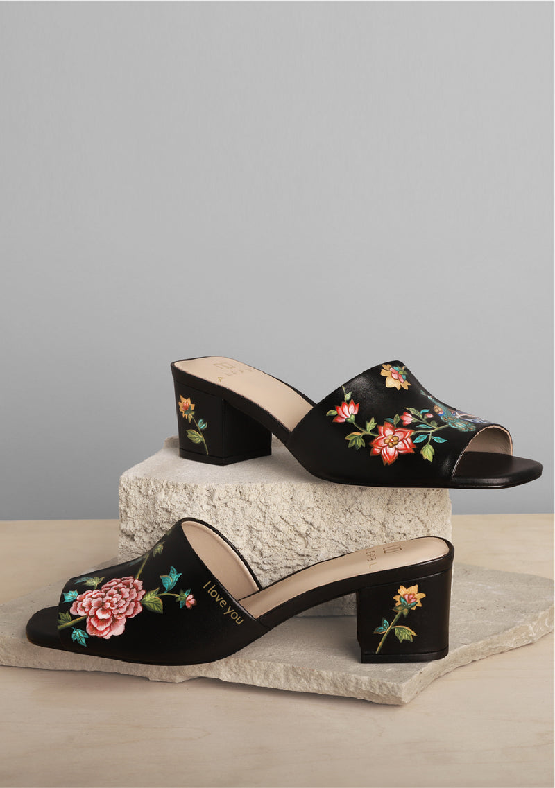 Bird and Flower Multicolor Black Leather Block Heel With Monogram